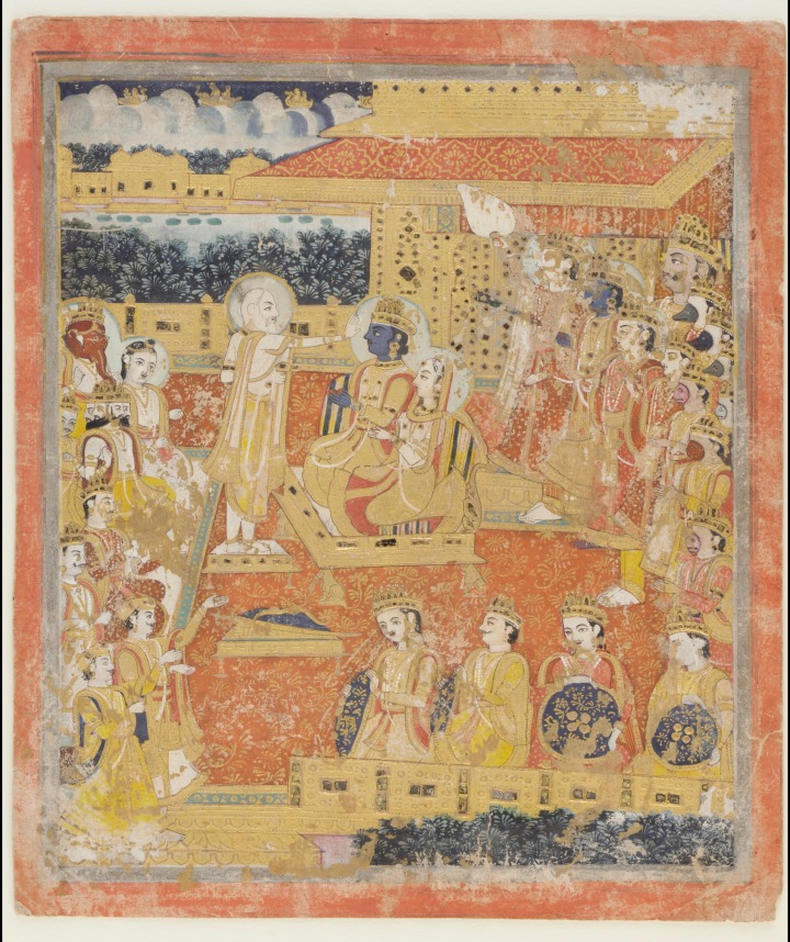 Rama and Sita Enthroned Album folio with painting